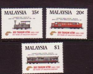 Malaysia Sc 301-3 1985 Railways stamp set mint NH