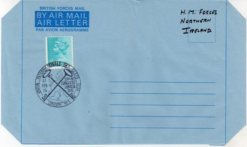 GB = Postal Stationary - 1975 0.5p tied LONDON Spec. Cancel. Marked HM Forces !