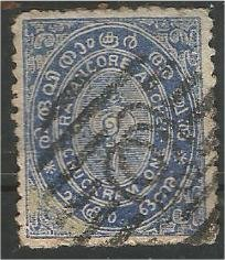 TRAVANCORE, 1888, used 1ch, Conch Shell Scott 1