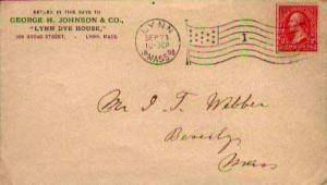 United States, First Bureaus, Flags, Machine Cancel, Massachusetts