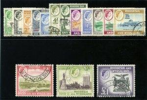 Rhodesia & Nyasaland 1959 QEII Definitive set complete VFU. SG 18-31. Sc 158-171