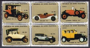 Equatorial Guinea 1978 French Classic Cars Sheetlet (6) Perforated MNH VF