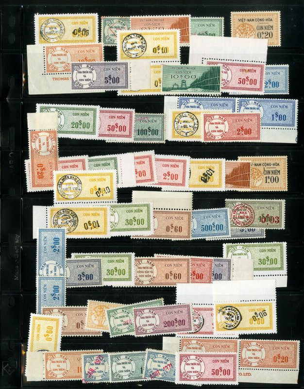 Vietnam Stamps Clean Collection of 58 Rare Early Mint & Used Revenues