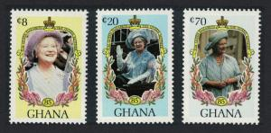 Ghana Life and Times of Queen Elizabeth the Queen Mother 3v SG#1140-1142
