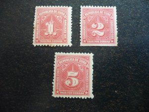 Stamps - Cuba - Scott# J8-J10 - Mint Hinged Set of 3 Postage Due Stamps