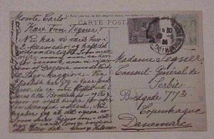 MONACO  CARD 1924 DESTINATION DENMARK TO CONSUL GENERAL DE SERBIA #14 cat.$57.00