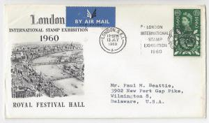 GB London Stamp Exhibition 1960 Airmail Cover to US Slogan