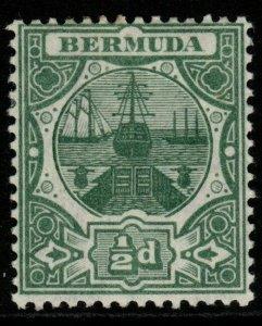 BERMUDA SG36 1909 ½d GREEN MTD MINT