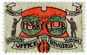 (I.B) Canada Cinderella : Hobby Club Exchange Stamp