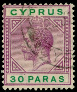 CYPRUS SG87, 30pa violet & green, FINE USED.
