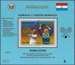 1986 Paraguay Tennis, Wimbledon, Becker, Souvenirsheet Muestra MNH CAT 25+$