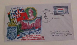 US PATRIOTIC  AMSTERDAM NETHERLAND LIBERATED CACHET  FLUEGEL COVER