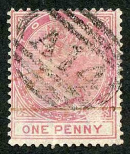 Tobago SG1 1879 1d Rose wmk CC Fiscal cancel and Forged Pmk