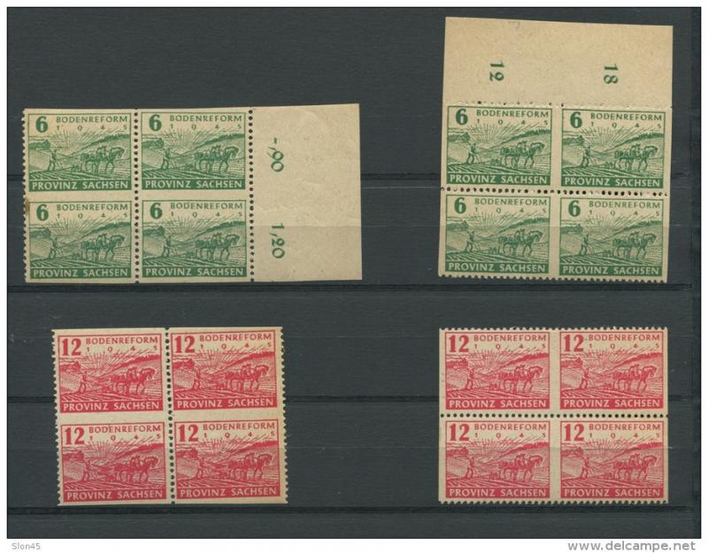 Germany 1945 Soviet Zone Blocks Of 4 Vertical/Horizontal Imperf Thick Paper.