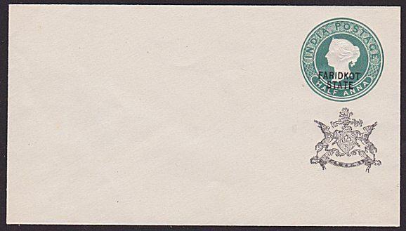 INDIA FARIDKOT QV ½a envelope overprinted in black..........................6124