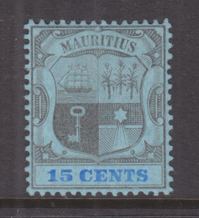 MAURITIUS, 1907 Arms., Mult Crown CA, 15c. Black & Blue on Blue, lhm.
