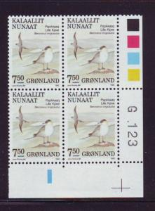 Greenland Sc 187 7.5 kr Birds stamp plate block of 4 mint NH