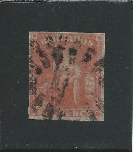 BARBADOS 1858 6d PALE ROSE-RED FOUR MARGINS FU SG 11 CAT £120