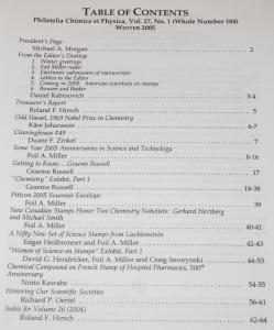 2005 Chemistry and Physics on Stamps Journal, 4 complete volumes