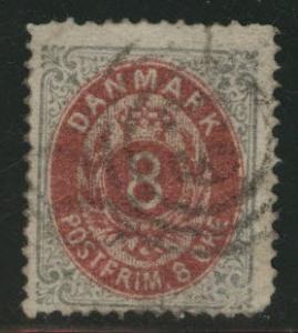 DENMARK  Scott 28 used 1879 stamp
