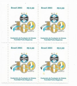 BRAZIL BRASIL 2003 100th anniversary of Gremio Football Club Block of 4 values