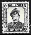 Brunei 1964-72 Sultan 6c black ordinary paper unmounted m...