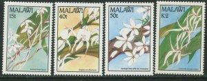 MALAWI Sc#578-581 1990 Orchids Flowers Complete Set OG Mint Hinged