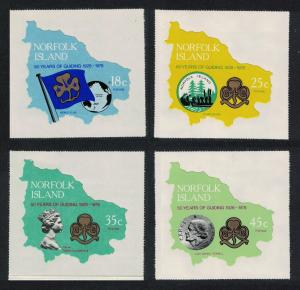 Norfolk Scouting 50th Anniversary of Girl Guides Imperf Self-adhesive 4v