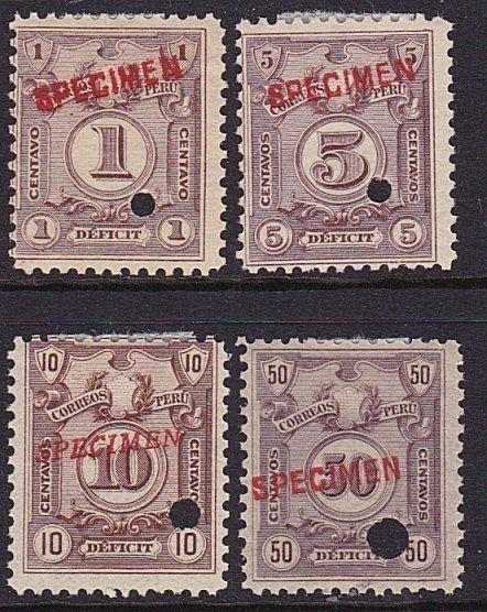 PERU 1909 Postage due set optd SPECIMEN in red + security punch hole........7940