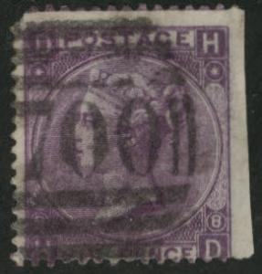 Great Britain Scott 51, 1865 Victoria 6p wmk 25 P8 CV$85