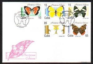 Cuba, Scott cat. 3827-3831. Butterflies issue. First day cover. ^