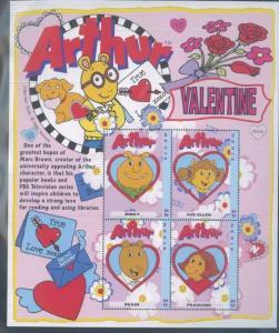 ARTHUR Valentine's Day Souvenir Sheet #1405 MNH - Nevis E12