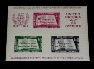 U.N. 1955, NEW YORK #38, 2nd PRINTING, MNH, SOUVENIR SHEET, NICE! LQQK!