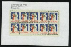 Denmark. Christmas Seal Souvenir Sheet Mnh.1938/91 Reprint. Boy,Snowman,Tree