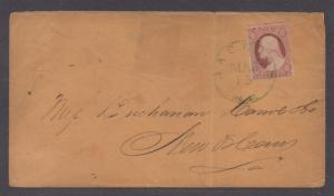 **US 19th Century Cover, SC# 11a Green Jackson, MS 3/15 CDS Cancel RARE!