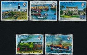 Alderney 1989-93 , Lighthouse, Ship, Train, Architecture MNH set # 42-46