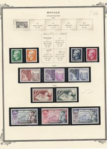 Monaco Mounted Mint Stamps On Sheet 1951-53 Ref: R6238