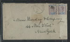 LEEWARD ISLANDS  (P1104B) 1892 QV 2 1/2DX2 PR ANTIGUA TO NEW YORK