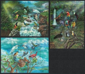 Bhutan Amazon Toucan Ibis Jay Birds 27 stamps 3 Sheetlets SG#1406-1432