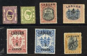 Labuan Scott 29,34,53,92a,94,95,96 Mint hinged (couple brown gum) -CV $90.00