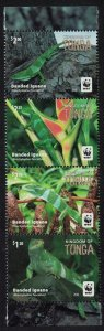 Tonga WWF Banded Iguana Strip of 4v SG#1804-1808 SALE BELOW FACE VALUE