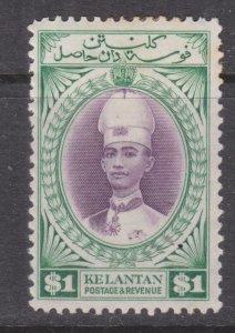 KELANTAN, 1937 Sultan Ismail,$ 1.00 Violet & Blue Green, heavy hinged.