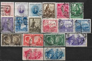 COLLECTION LOT OF 18 ITALY STAMPS 1938+ CV + $46