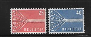 SWITZERLAND, 363-364, MINT HINGED HINGE REMNANT, ROPE & SYMBOL OF EUROPEAN UNITY