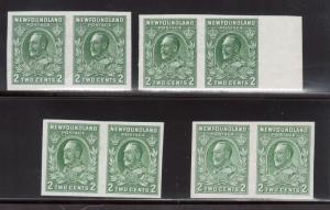 Newfoundland #186c Extra Fine Mint Unused (No Gum) Imperf Pairs In Four Shades