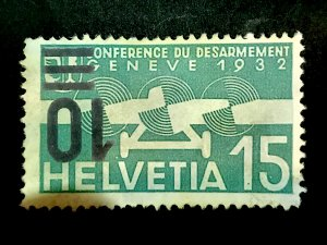 Switzerland 1935-37 Surcharge  inverted Helvetia 15