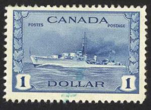 Canada Sc# 262 MH (blue mark) 1942 $1.00 deep blue Tribal Class Destroyer