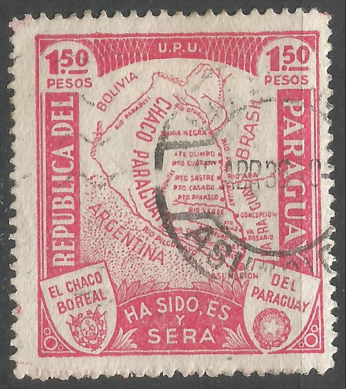 PARAGUAY 324 VFU MAP W622-3