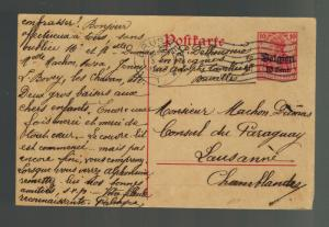 1917 Belgium Germany Occupation Postcard Cover to Paraguay Consul Switzerland 4