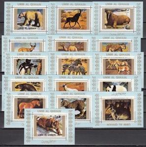 Umm Al Qiwain, Mi cat. 1370-1385 C. Wild Animals on 16 Blue s/sheets. ^